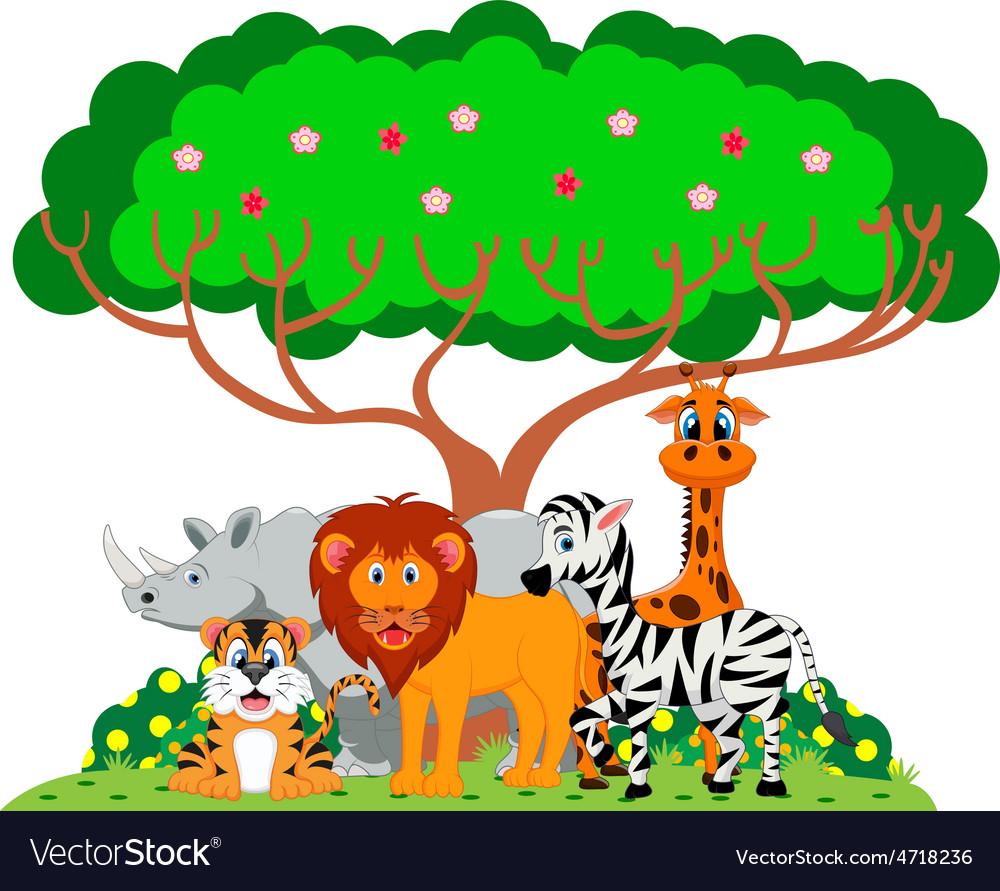 Lion tiger zebra rhino and giraffe were playing vector | Price: 1 Credit (USD $1)