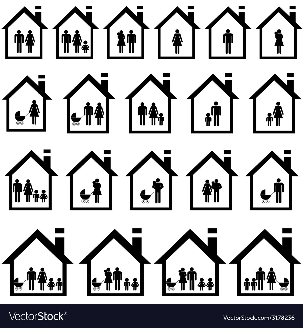 Pictograms of families in houses vector | Price: 1 Credit (USD $1)