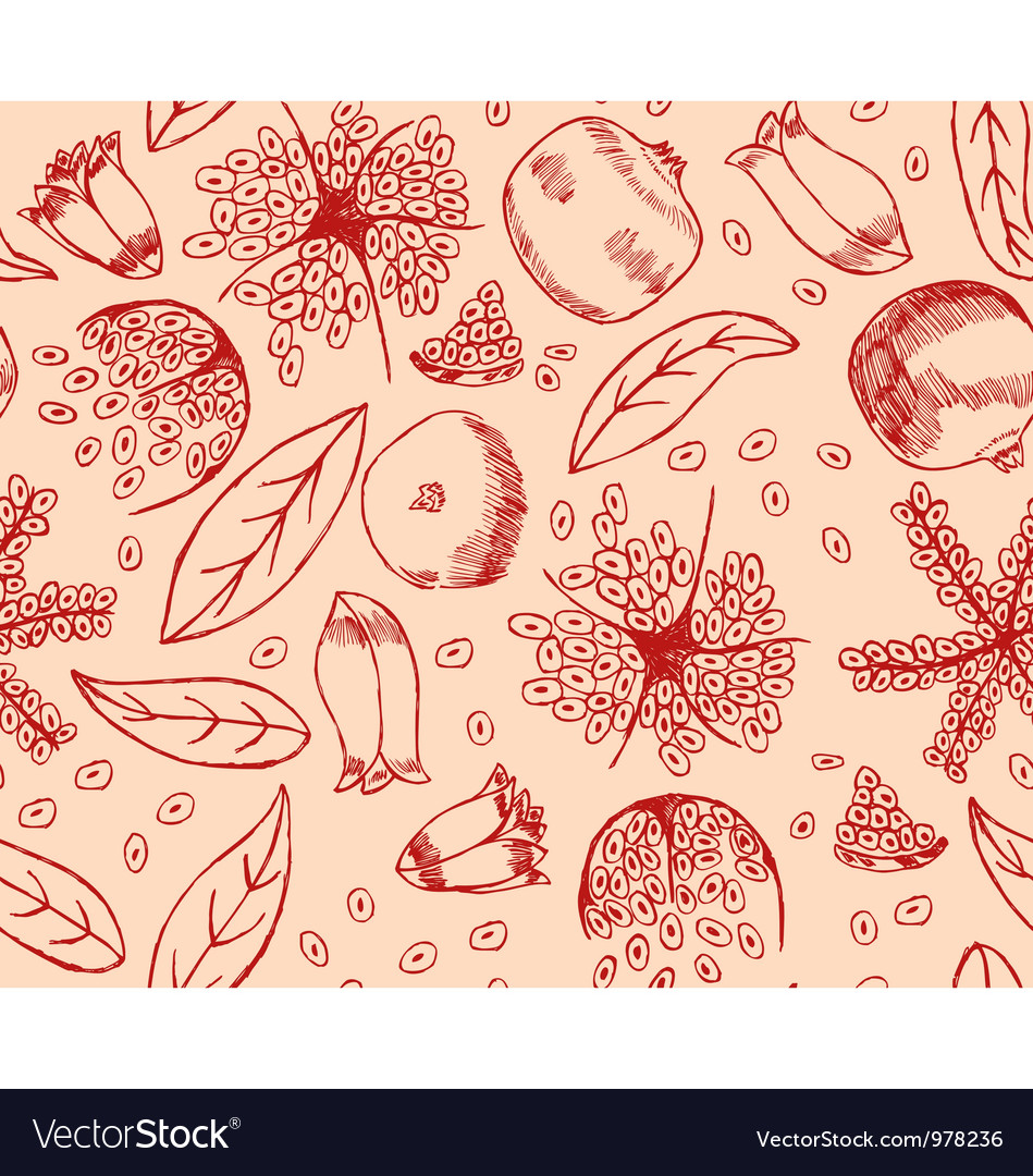 Red pomegranate pattern vector | Price: 1 Credit (USD $1)