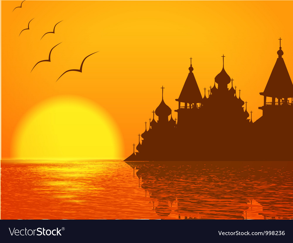 Religion scenery with church cupola vector