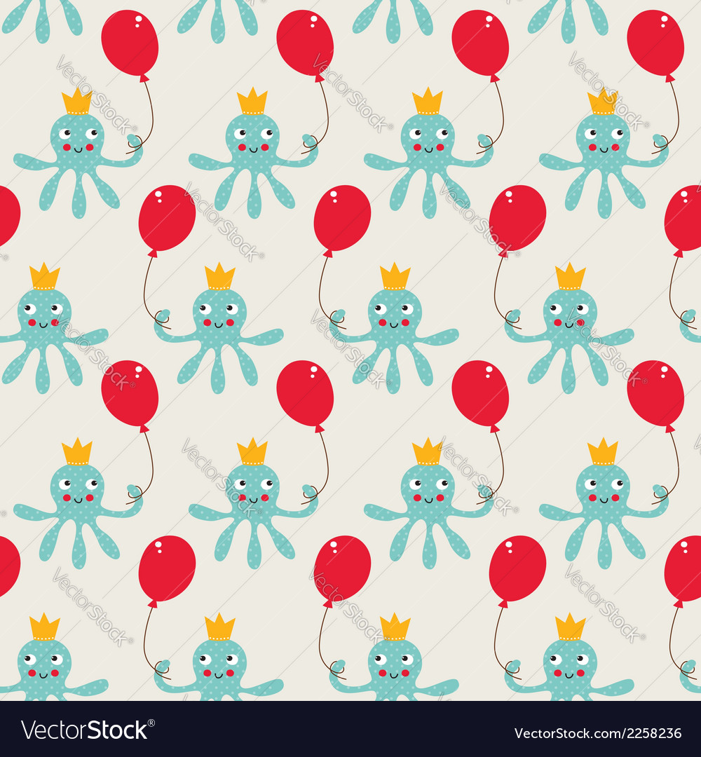 Seamless birthday pattern with cute octopus vector | Price: 1 Credit (USD $1)