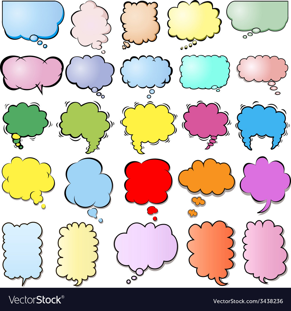 Set of colored clouds vector | Price: 1 Credit (USD $1)