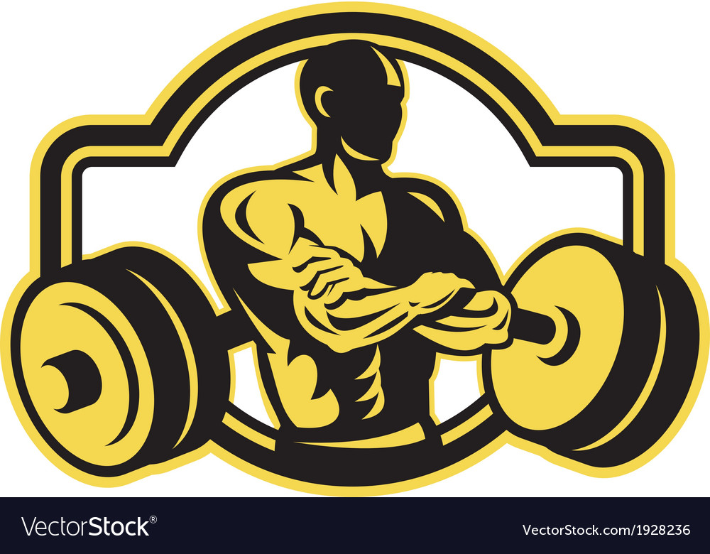 Weightlifter arms crossed barbell retro vector | Price: 1 Credit (USD $1)
