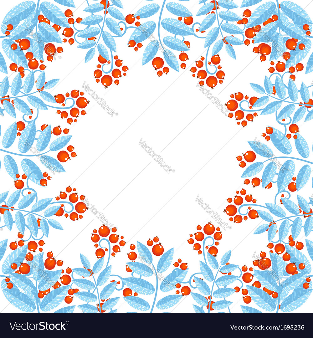 Winter decorative frame with rowan berries vector | Price: 1 Credit (USD $1)