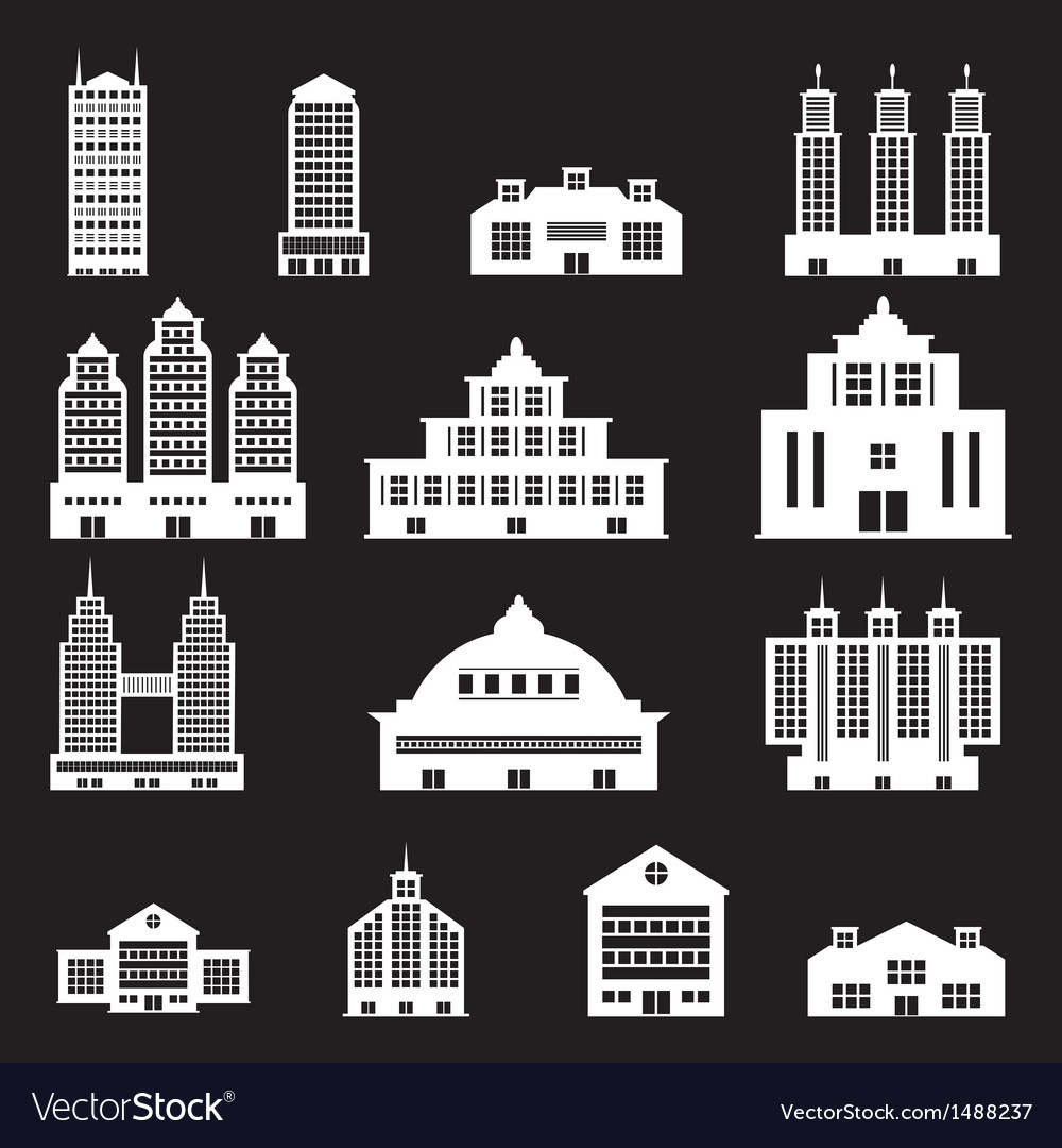 Building set 4 - white vector | Price: 1 Credit (USD $1)