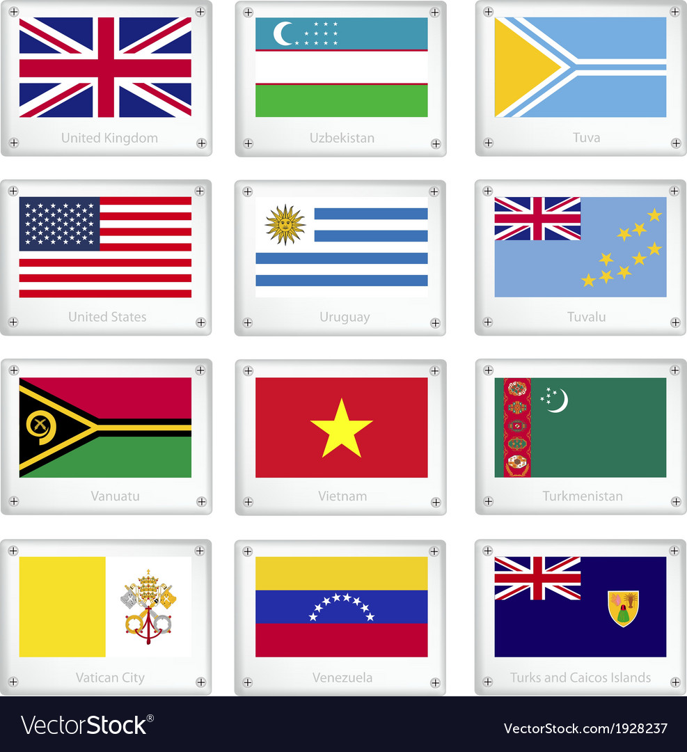 Gallery of countries flags on metal texture plates vector | Price: 1 Credit (USD $1)