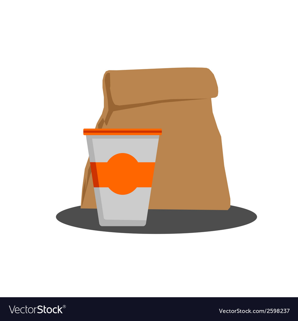 Paper bag with food and styrofoam cup vector | Price: 1 Credit (USD $1)