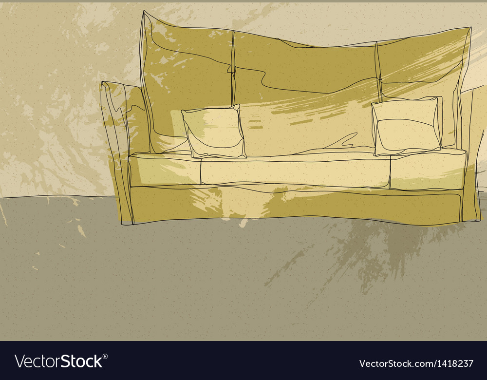 Sketch couch background vector | Price: 1 Credit (USD $1)