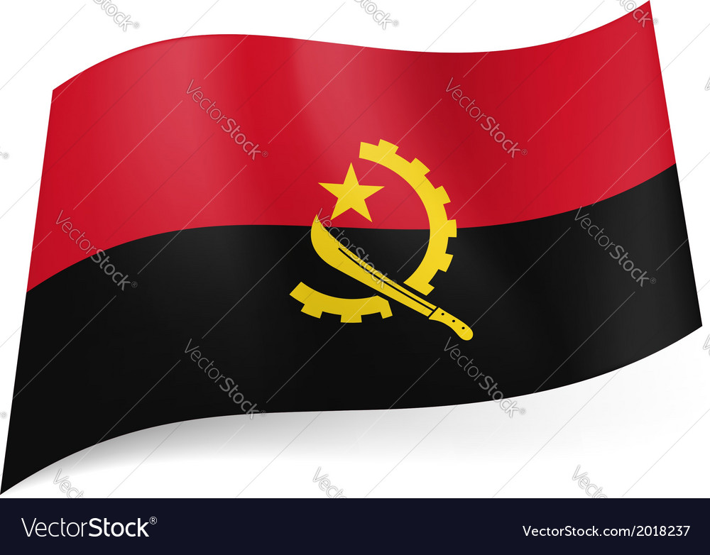 State flag of angola vector | Price: 1 Credit (USD $1)
