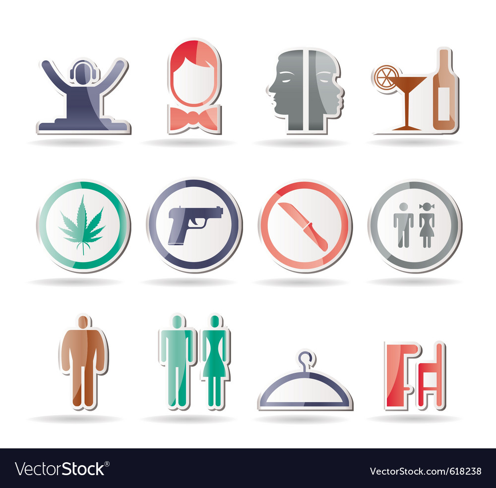 Bar and night club icons vector | Price: 1 Credit (USD $1)