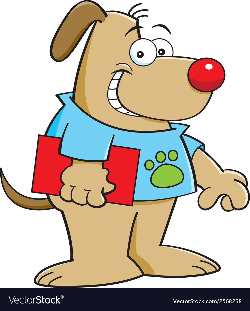 Cartoon dog holding a book vector   Price: 1 Credit (USD $1)