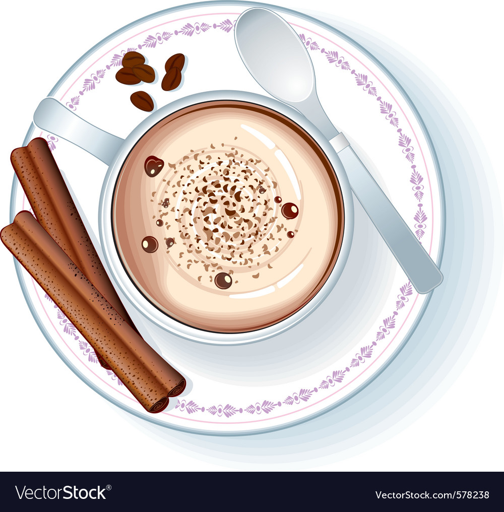 Coffee cup with cappuccino vector | Price: 1 Credit (USD $1)