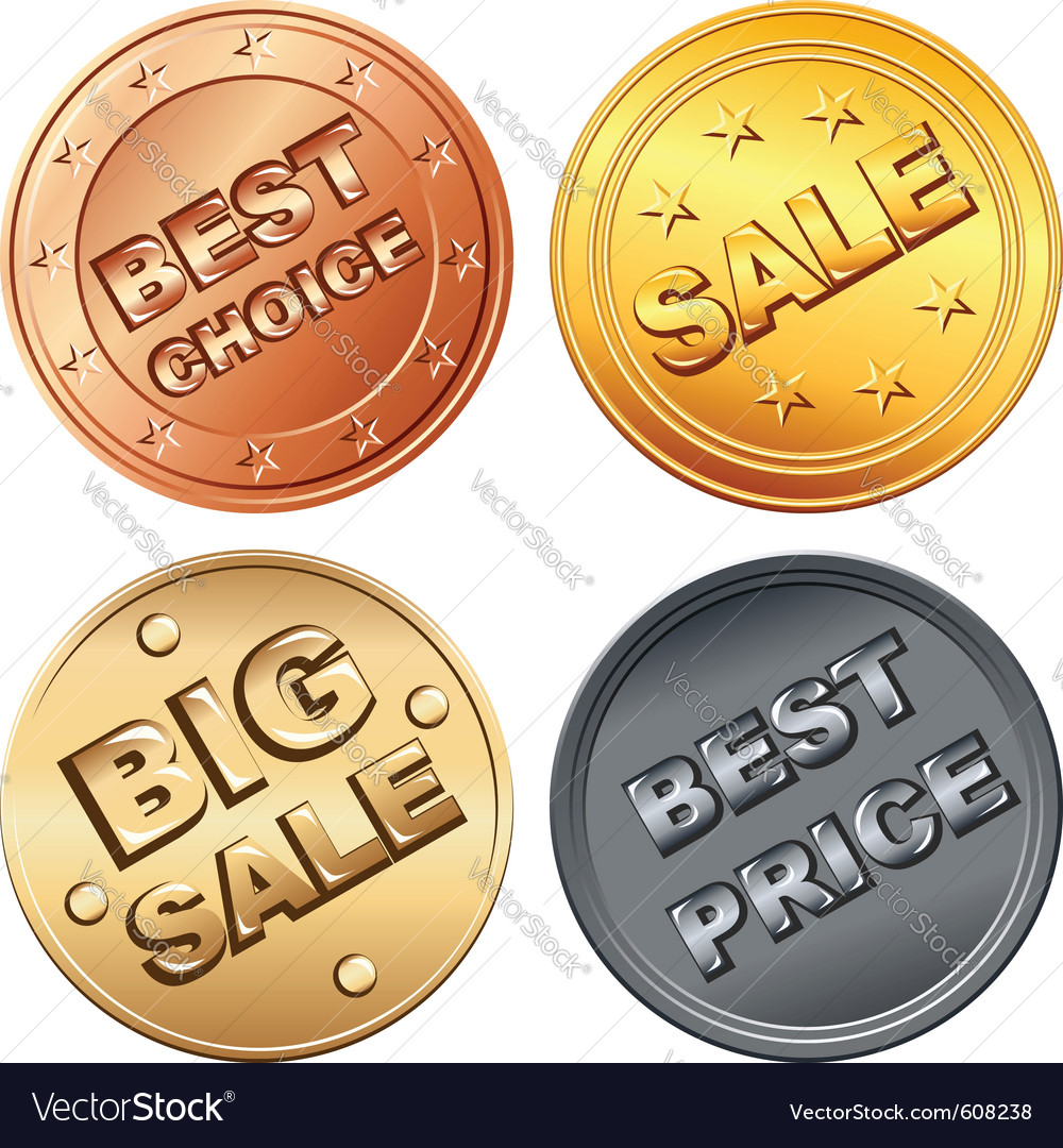 Coin price tags vector | Price: 1 Credit (USD $1)