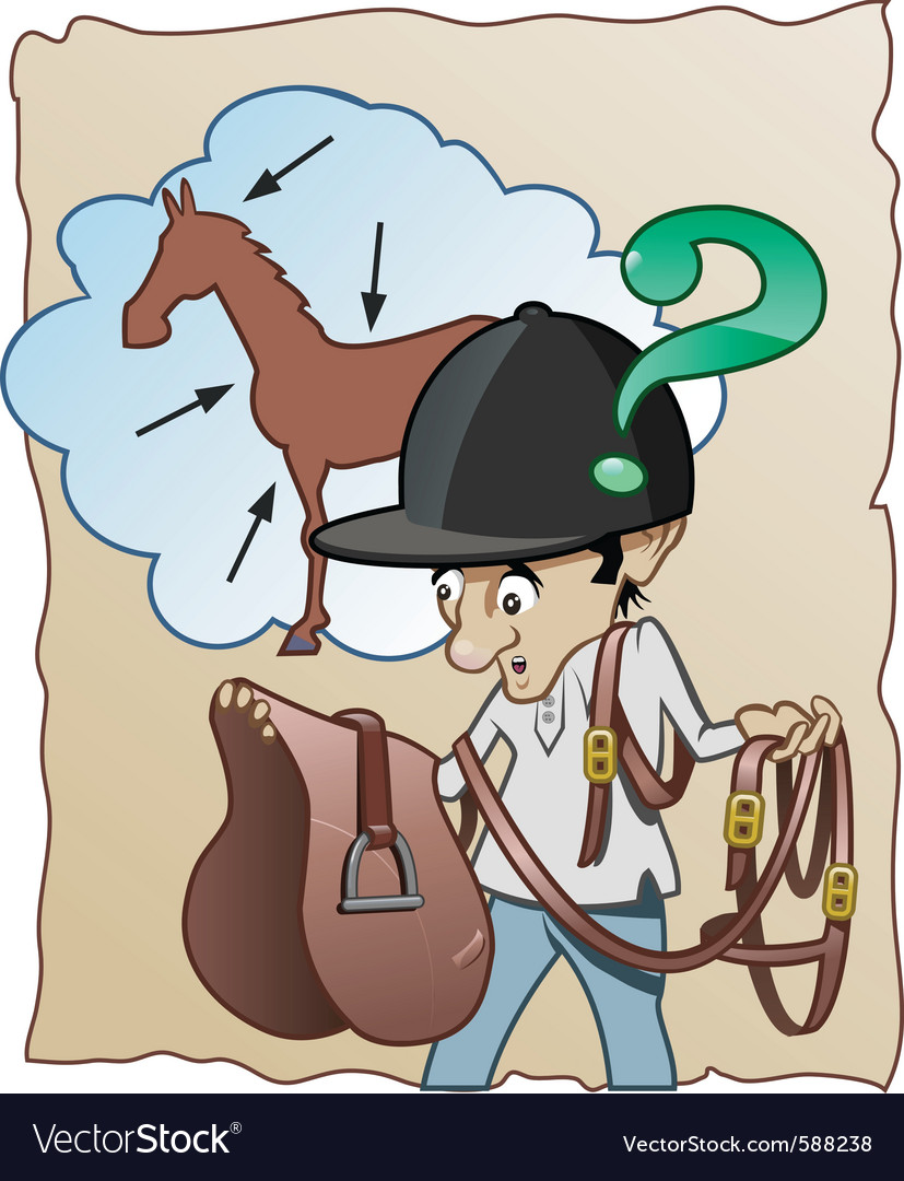 Inexperienced horse rider vector | Price: 1 Credit (USD $1)