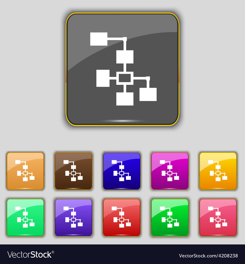 Local network icon sign set with eleven colored vector | Price: 1 Credit (USD $1)