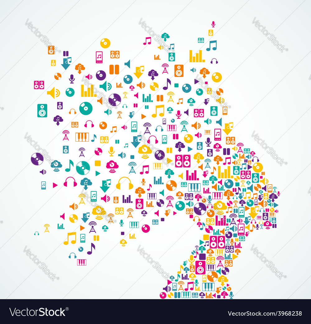 Music app icons splash woman hea vector