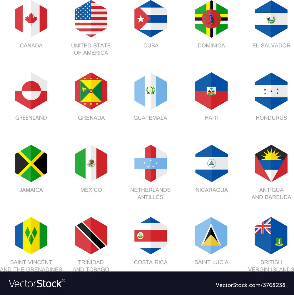 North america and caribbean flag icons hexagon vector