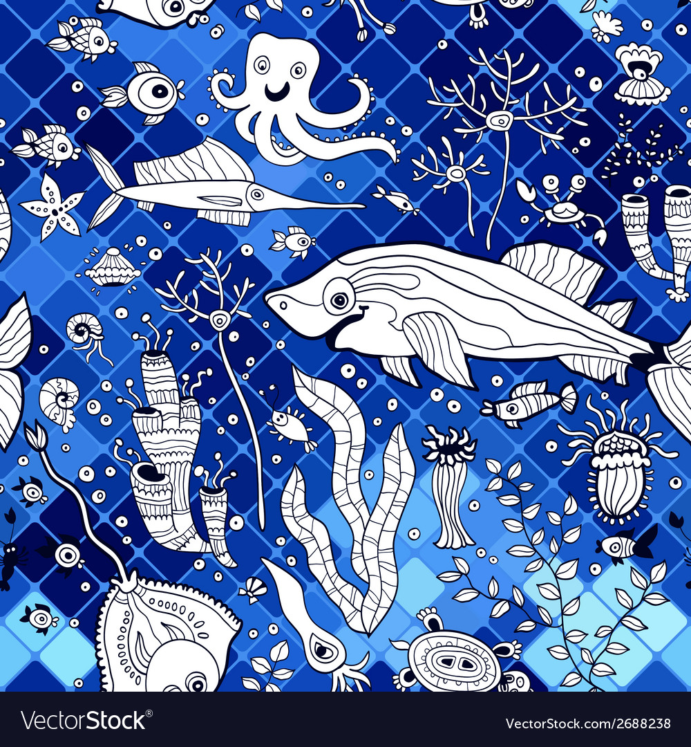 Pattern with marine life on the mosaic background vector | Price: 1 Credit (USD $1)