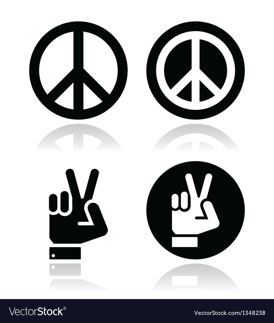 Peace hand gesture icons set vector | Price: 1 Credit (USD $1)
