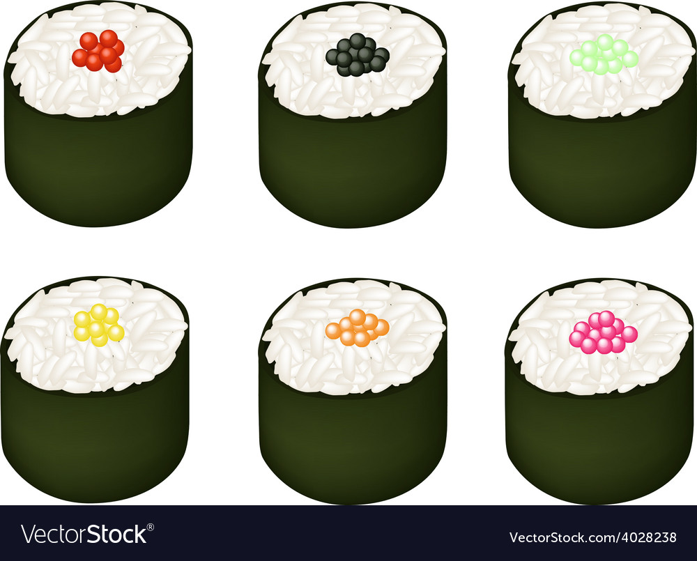 Set of tobiko roe sushi on white background vector | Price: 1 Credit (USD $1)