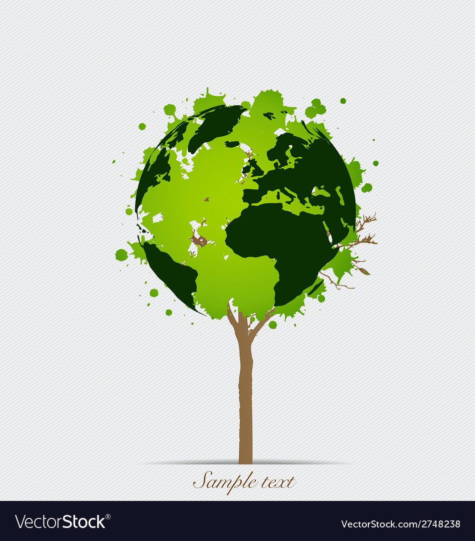 Tree shaped world map vector | Price: 1 Credit (USD $1)