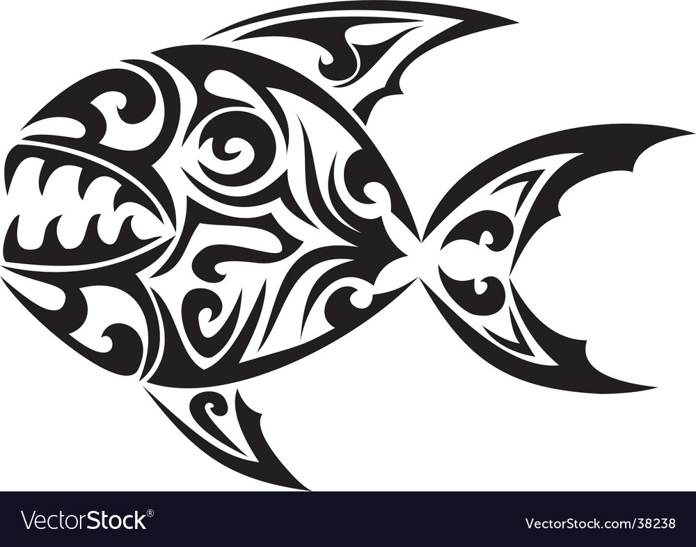 Tribal tattoo fish vector | Price: 1 Credit (USD $1)