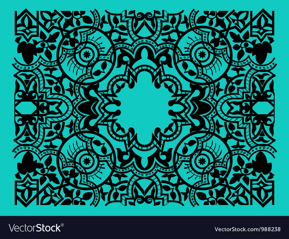 Vintage flower motif arabic retro pattern vector | Price: 1 Credit (USD $1)