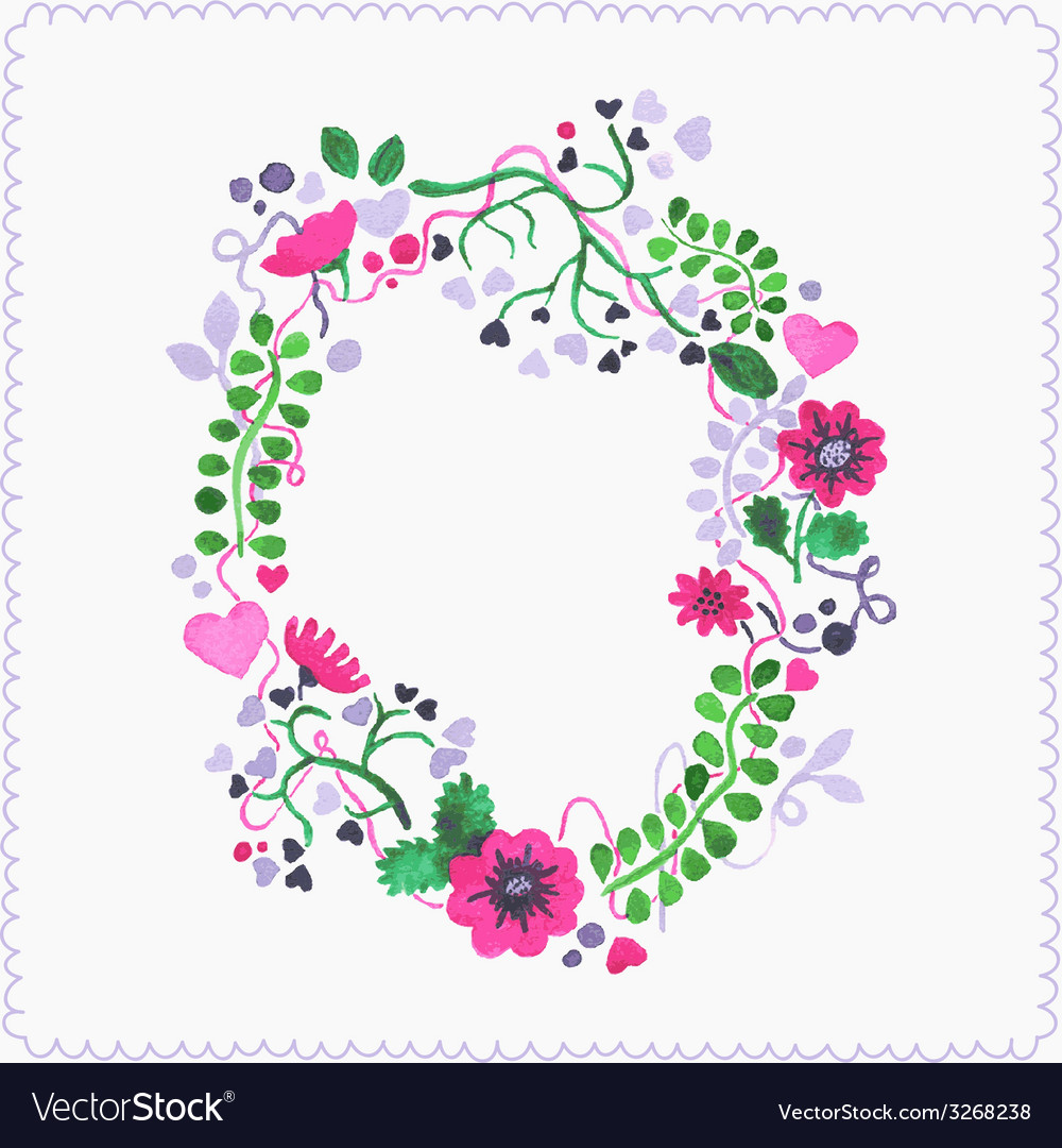 Watercolor floral frame or wreath greeting card vector | Price: 1 Credit (USD $1)