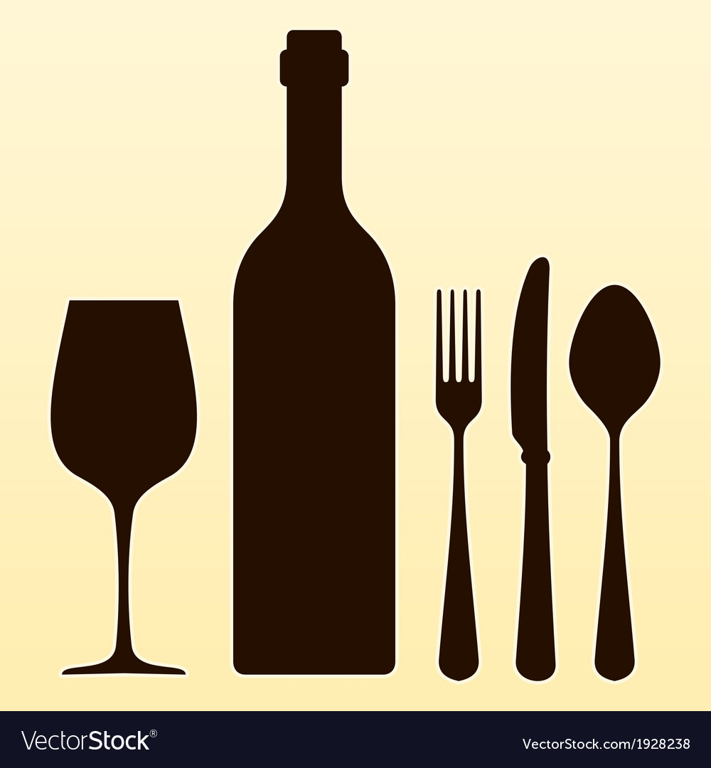 Wine bottle and cutlery vector   Price: 1 Credit (USD $1)