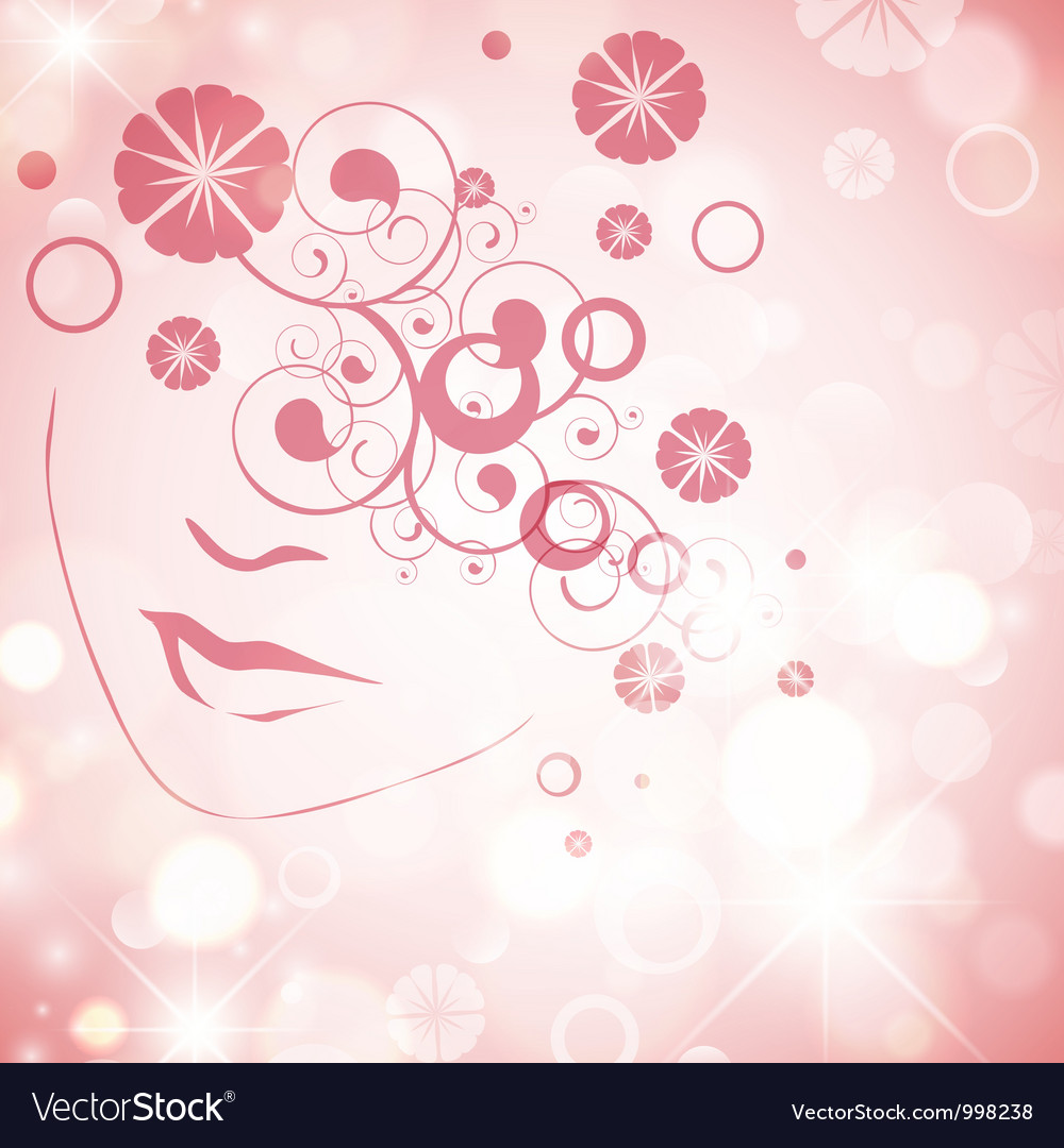 Woman face with floral decoration vector | Price: 1 Credit (USD $1)