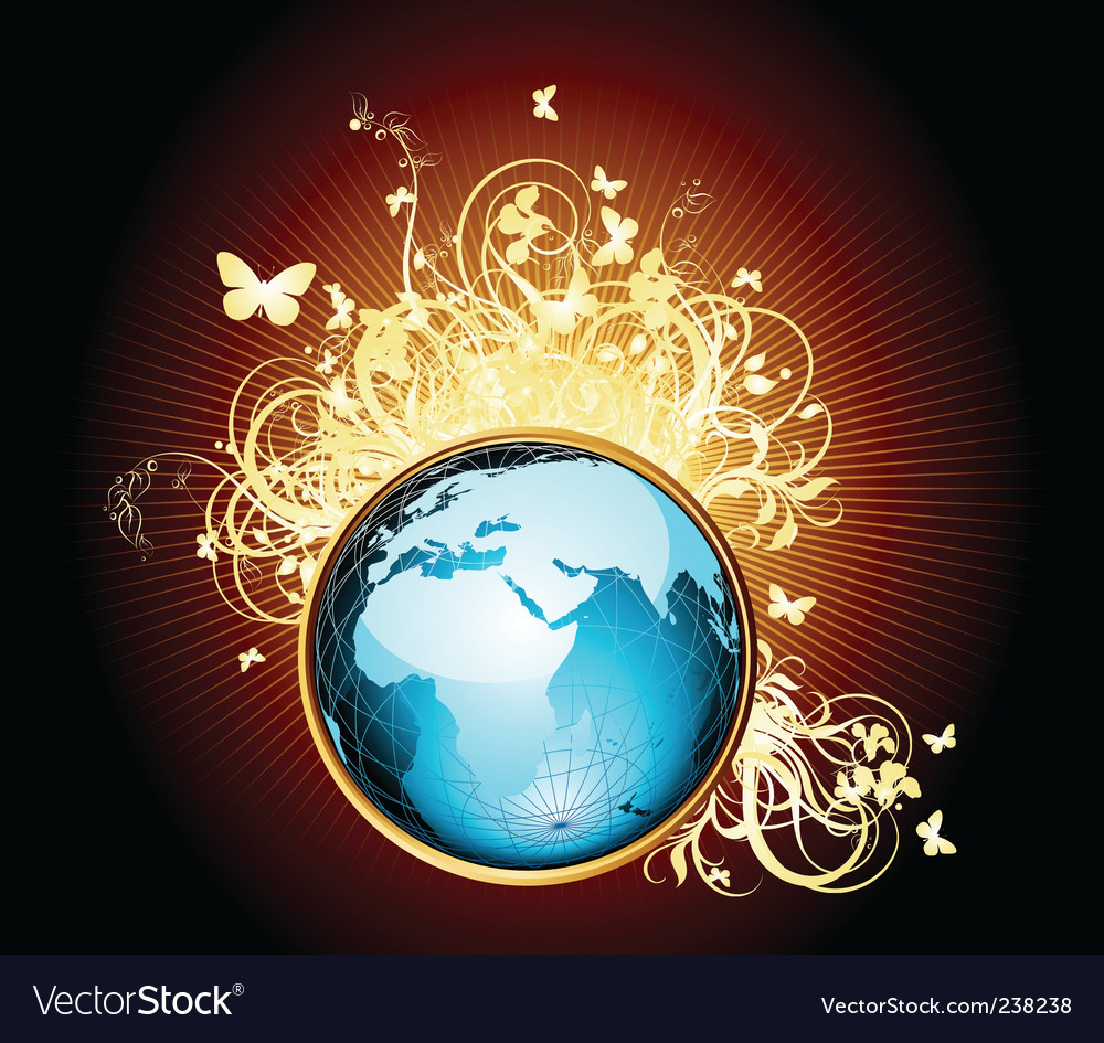 World with floral vector   Price: 1 Credit (USD $1)