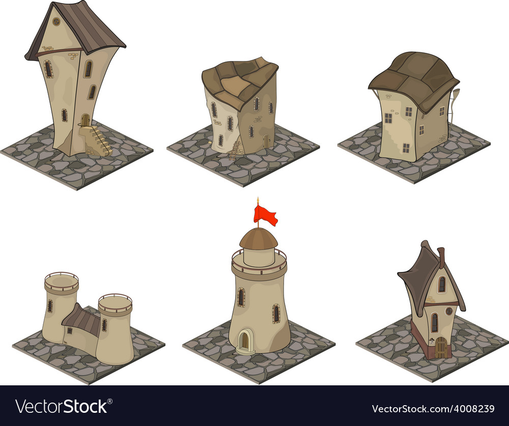 A video game objects medieval building set vector | Price: 1 Credit (USD $1)
