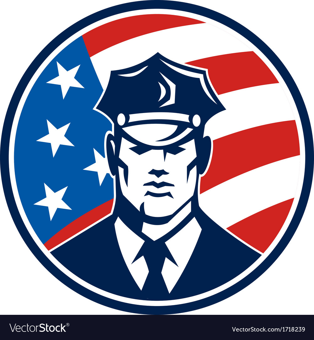 American policeman security guard retro vector | Price: 1 Credit (USD $1)