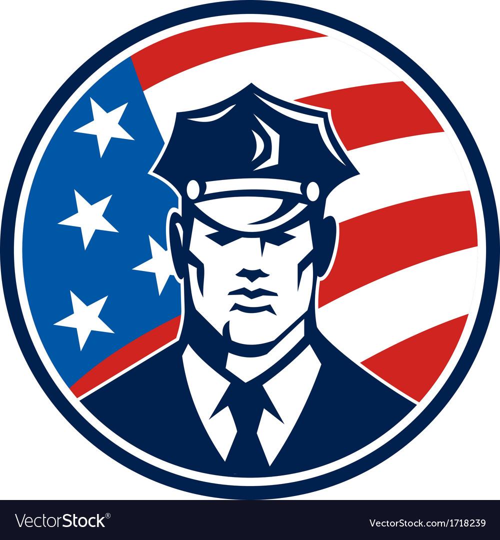 American policeman security guard retro vector | Price: 1 Credit (USD $1)