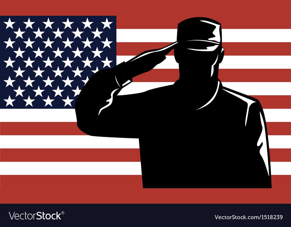 American solder serviceman saluting vector | Price: 1 Credit (USD $1)