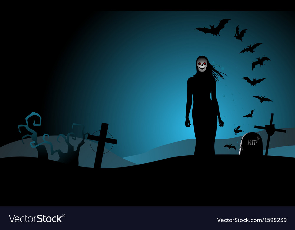 Halloween background with the woman ghost vector | Price: 1 Credit (USD $1)