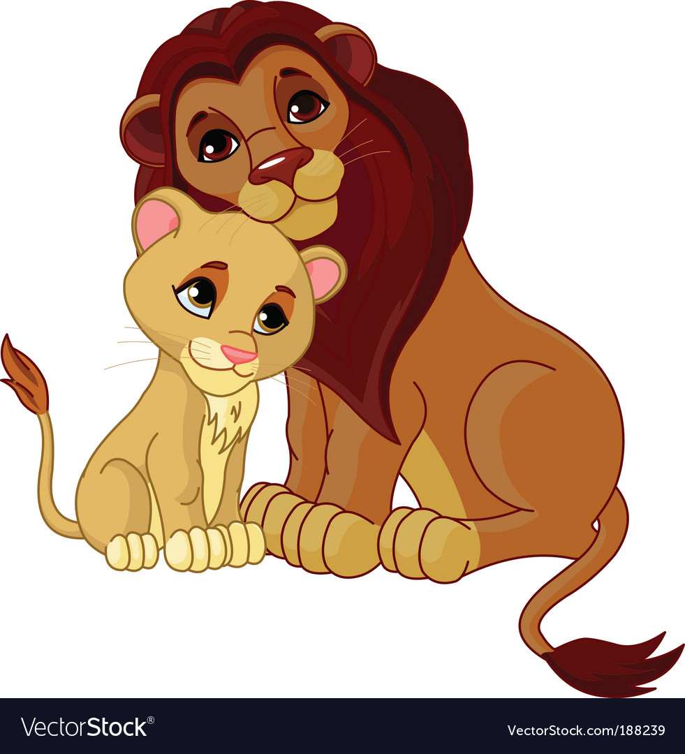 Lion and cub together vector | Price: 3 Credit (USD $3)