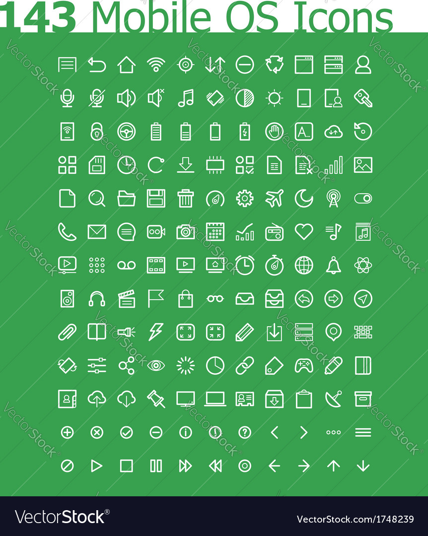 Operating system icon set vector | Price: 1 Credit (USD $1)