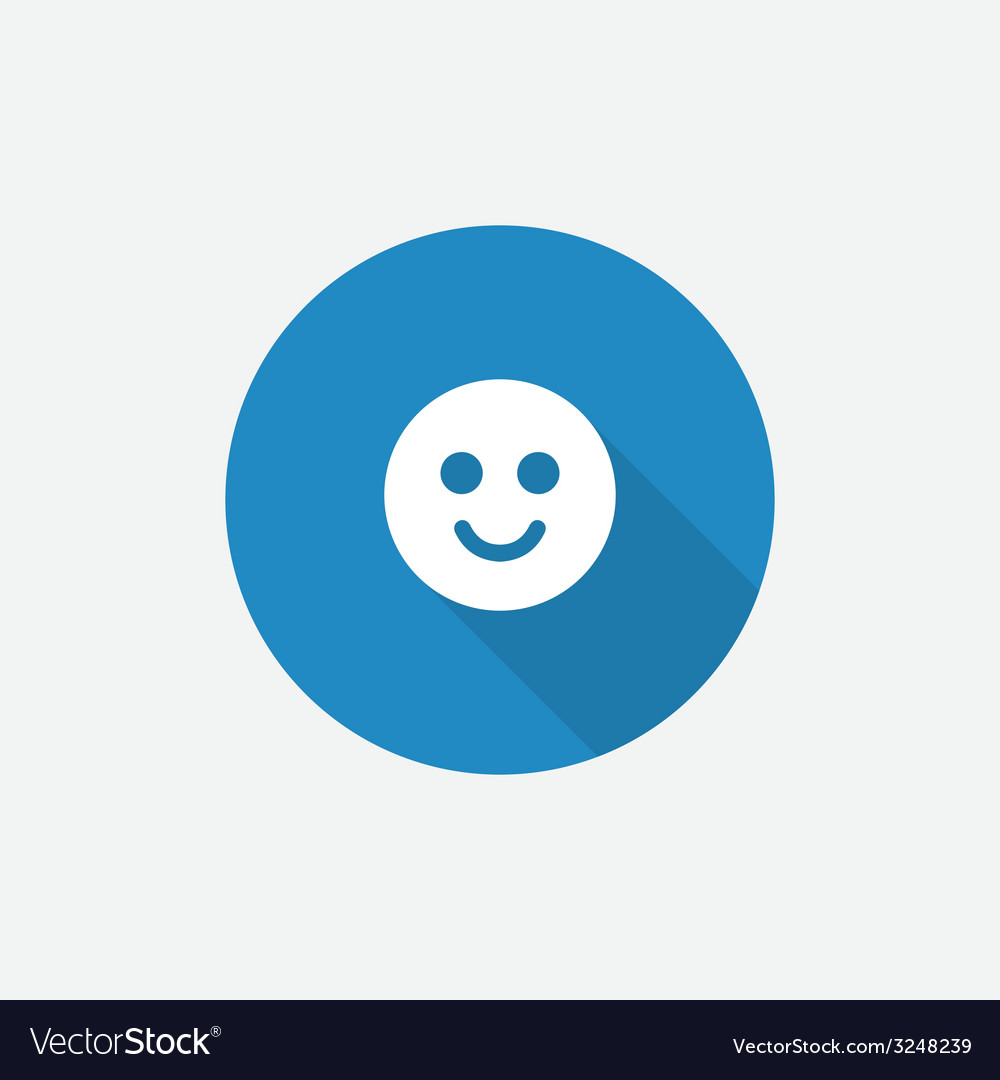 Smile flat blue simple icon with long shadow vector | Price: 1 Credit (USD $1)