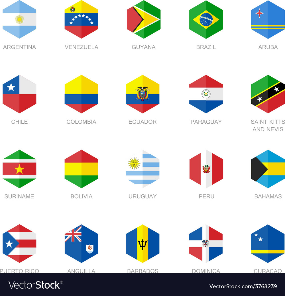 South america and caribbean flag icons hexagon vector | Price: 1 Credit (USD $1)