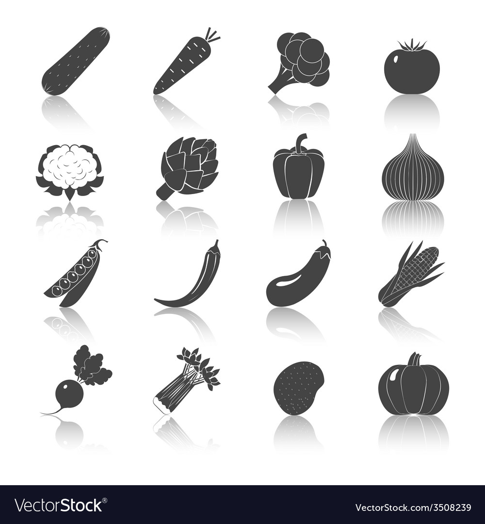 Vegetables black icons set vector | Price: 1 Credit (USD $1)
