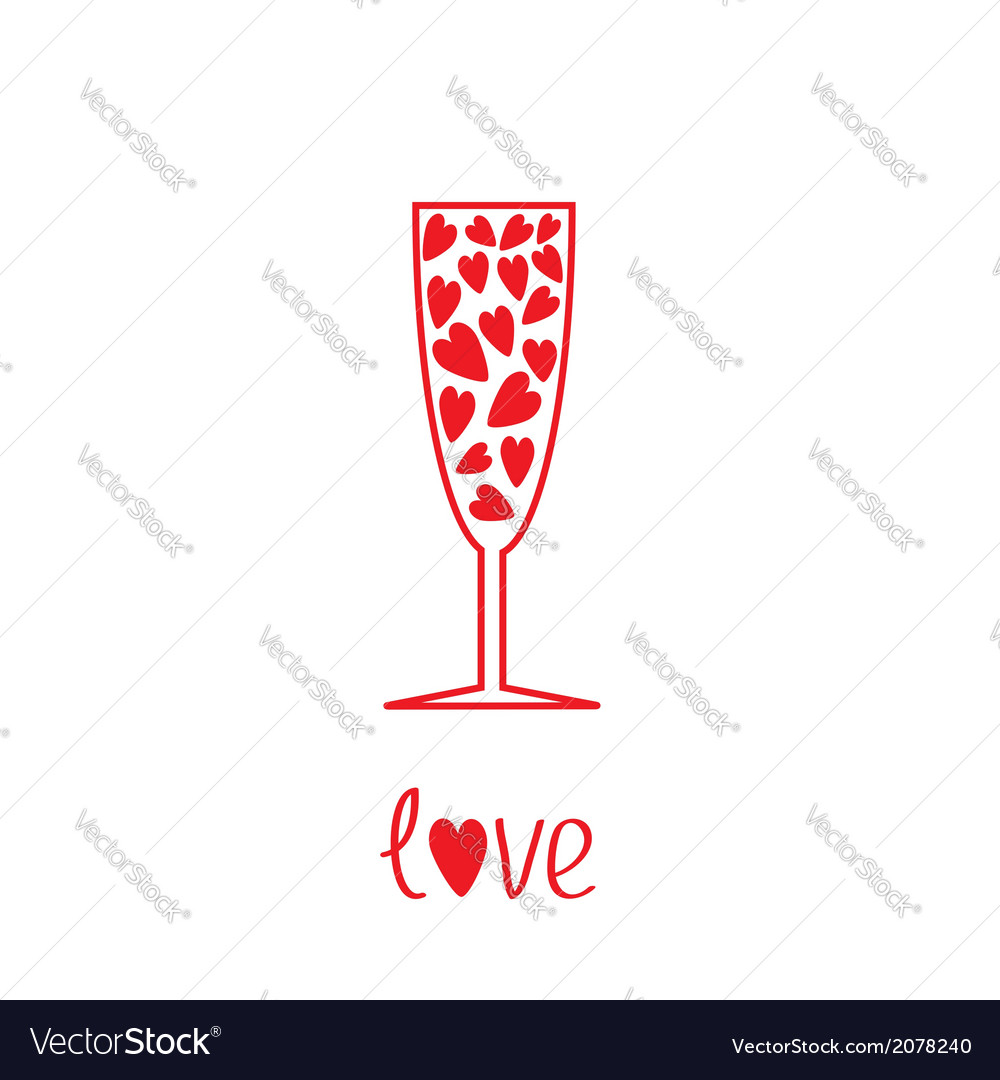 Champagne glass with hearts inside card vector | Price: 1 Credit (USD $1)