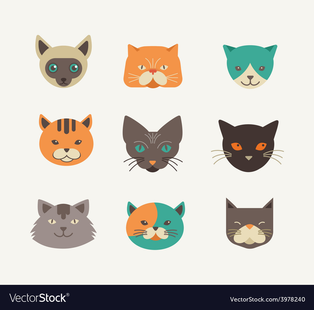 Collection of cat icons and vector | Price: 1 Credit (USD $1)