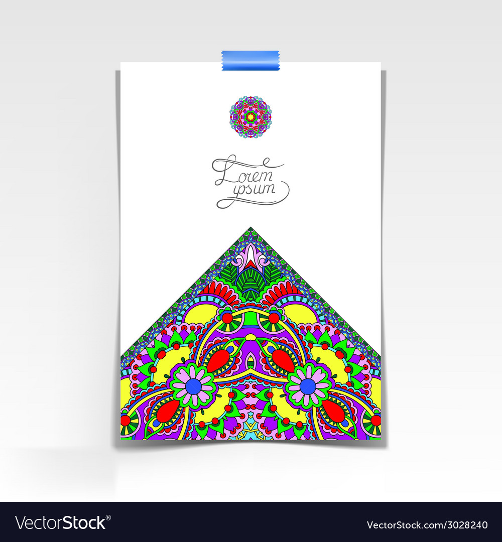 Decorative sheet of paper with oriental floral vector | Price: 1 Credit (USD $1)