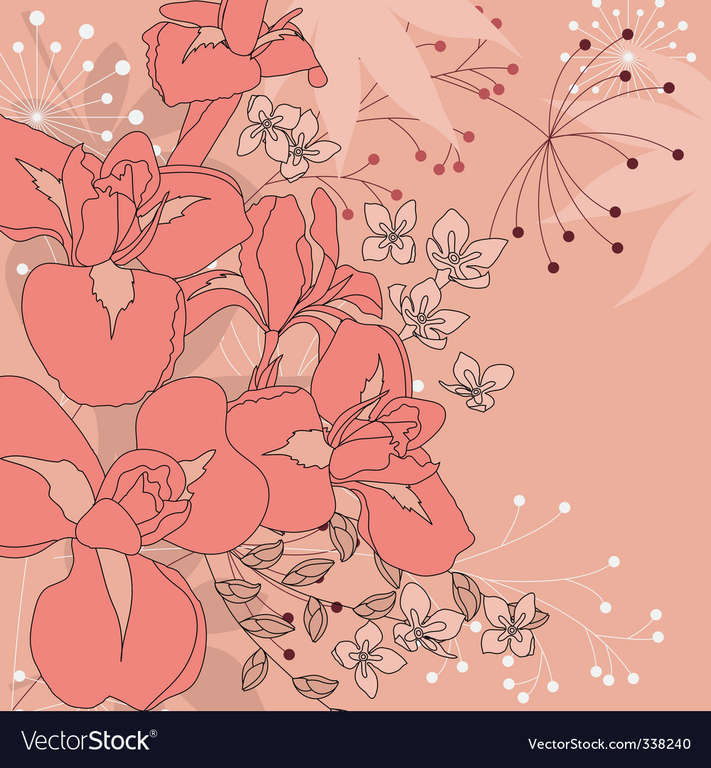 Floral background with irises vector | Price: 1 Credit (USD $1)