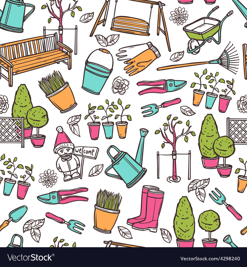 Gardening seamless pattern vector | Price: 1 Credit (USD $1)
