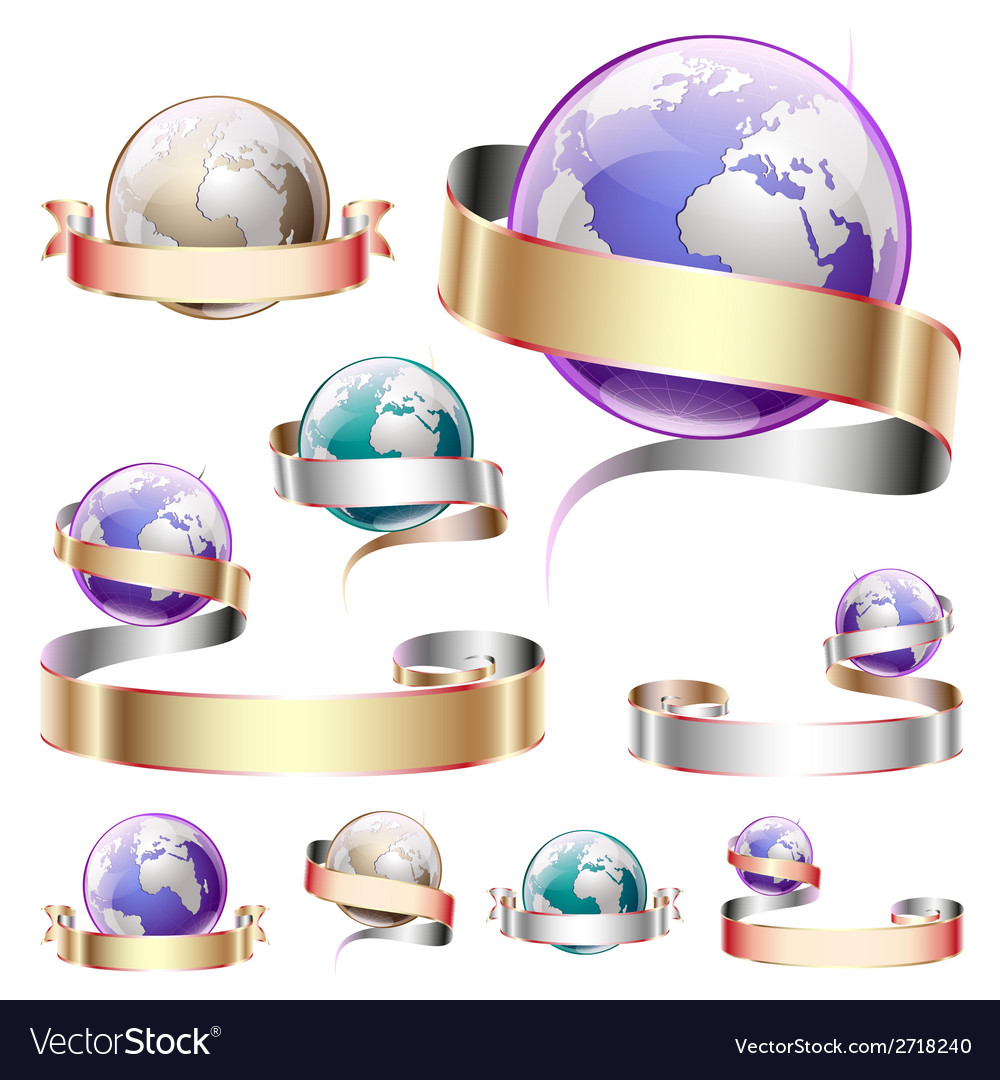 Icons planets with ribbon vector | Price: 1 Credit (USD $1)