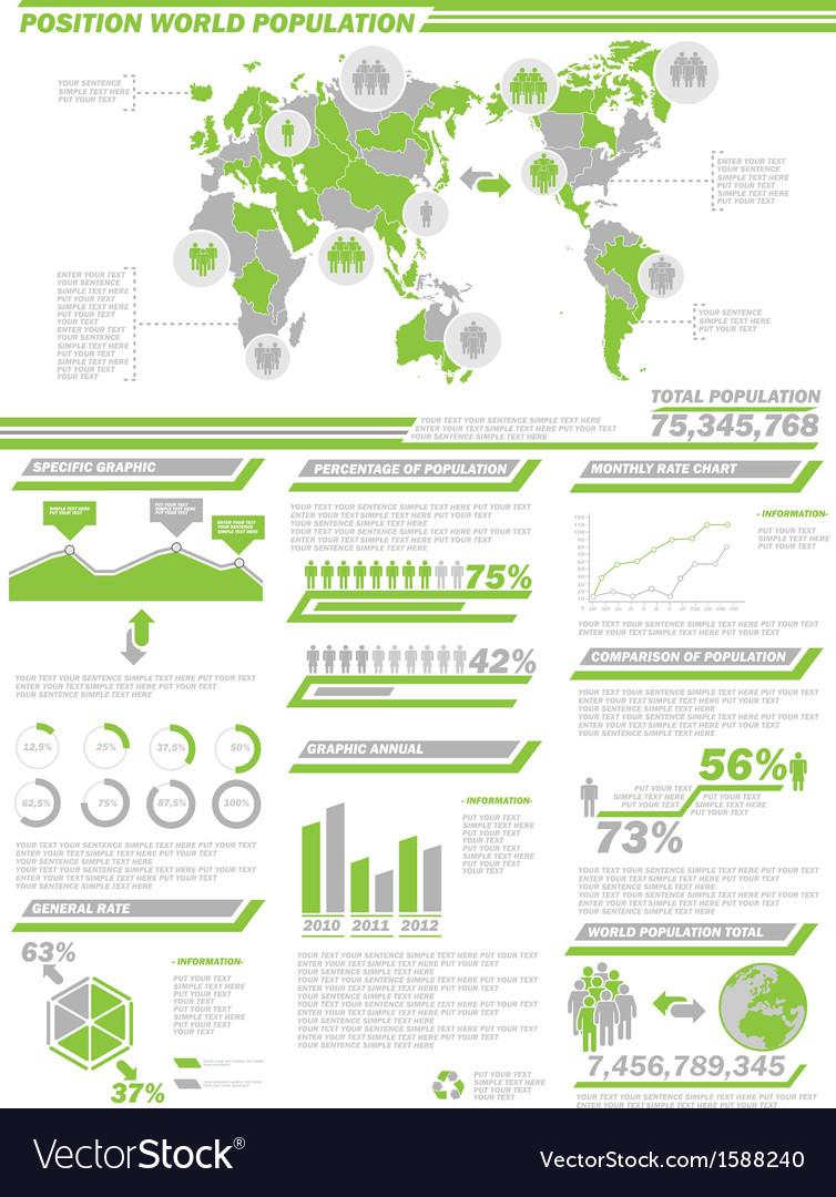 Infographic demographics population 2 green vector | Price: 1 Credit (USD $1)
