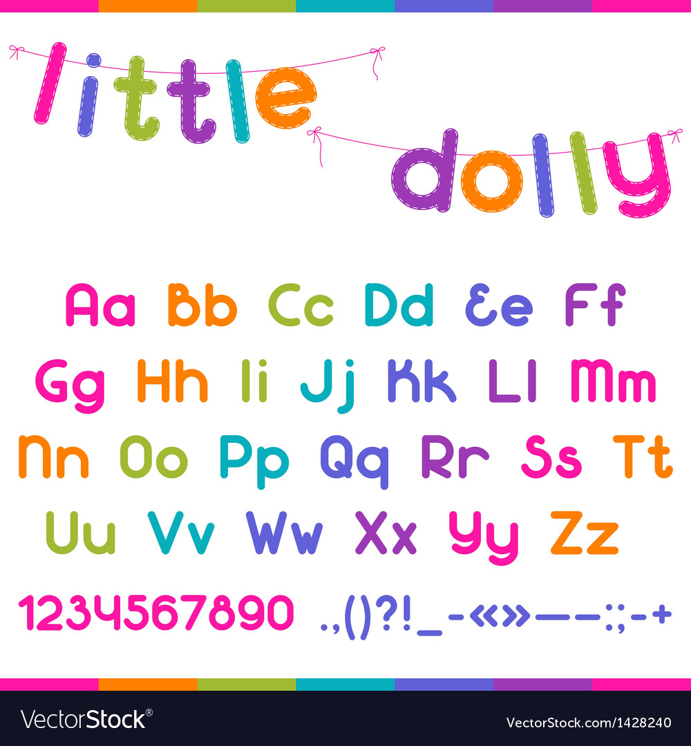 Little dolly funny kid font vector | Price: 1 Credit (USD $1)