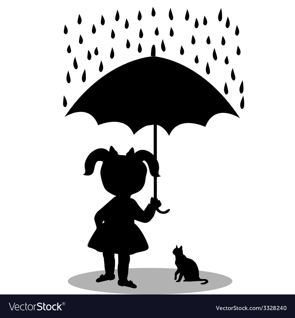 Little girl with a cat under an umbrella vector | Price: 1 Credit (USD $1)